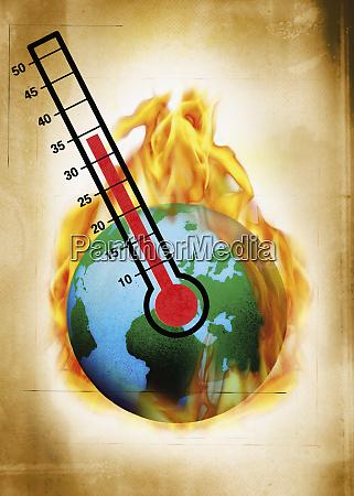 hot globe on fire