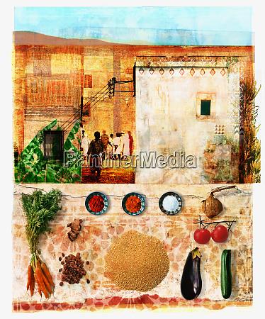 marokkanische essens und kulturcollage