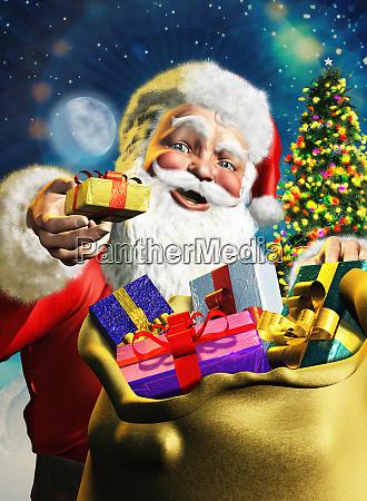 weihnachtsmann bietet geschenk aus sack
