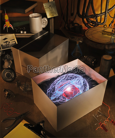 new glowing brain in box on