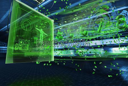 data streaming from illuminated futuristic computer