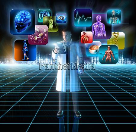 arzt, nutzt, digitalen, tisch, um, auf, informationen - 26000669