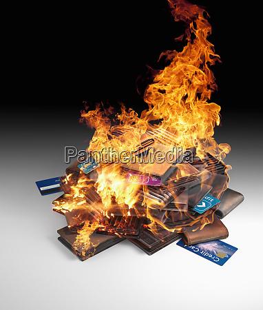 brennende, haufen, von, kreditkarten, und, geldbörsen - 26000278