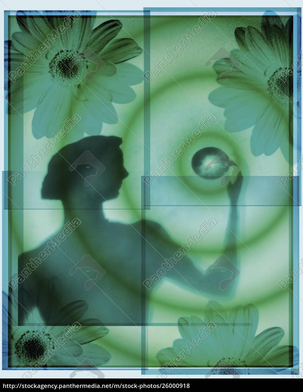 silhouette, der, gesunden, frau - 26000918