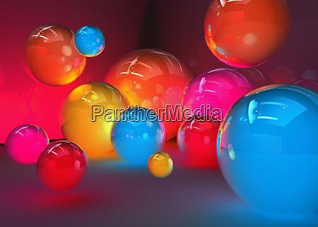 abstrakt leuchtende bunte kugeln