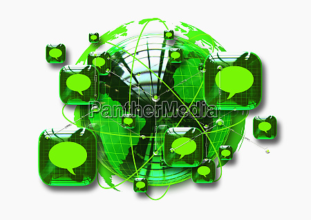 gruener globus umgeben von plaetzen mit