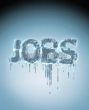 das wort jobs mit eiszapfen eingefroren