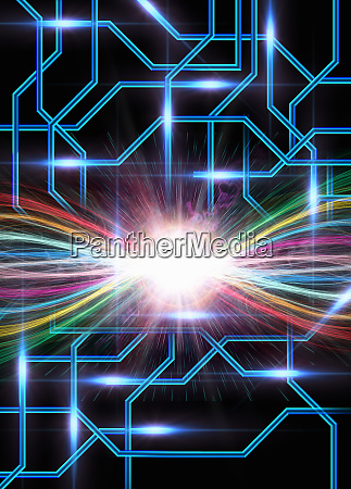 colorful streaks of light glowing