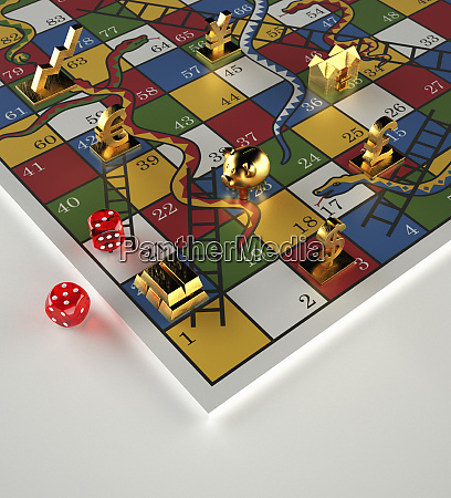 tokens and dice on snakes and