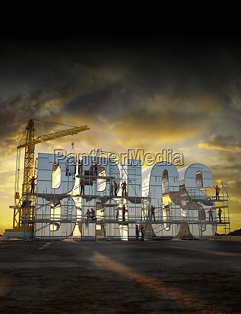 bauarbeiter bauen briefe die brics buchstabieren