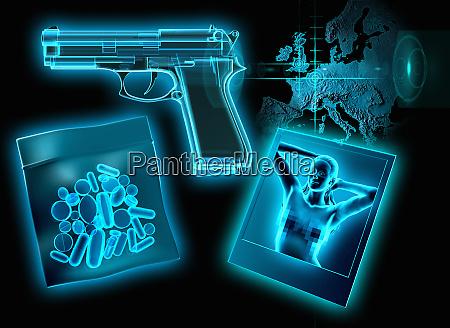 roentgenbild von pillen pistole und foto