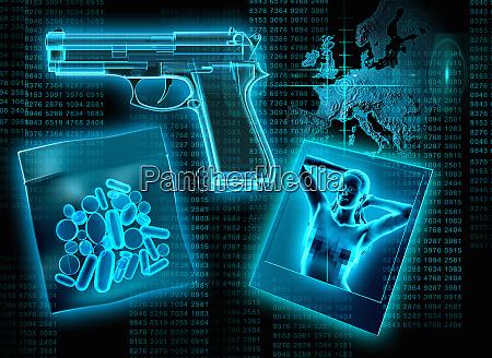 x ray of pills gun and