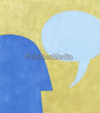mans profil mit sprachblase