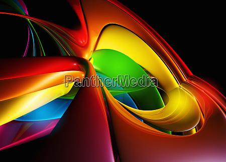 abstrakte digital generierte wirbelnde multicolor leitungen