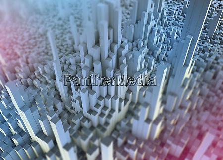 abstrakte weisse dreidimensionale stadttopografie