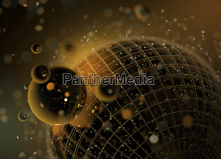abstract pattern of shiny gold spheres