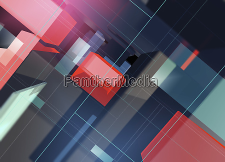 overhead view of abstract three dimensional