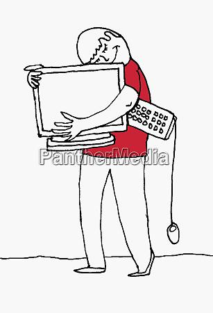 happy man hugging computer