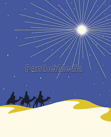 christmas star shining above three wise