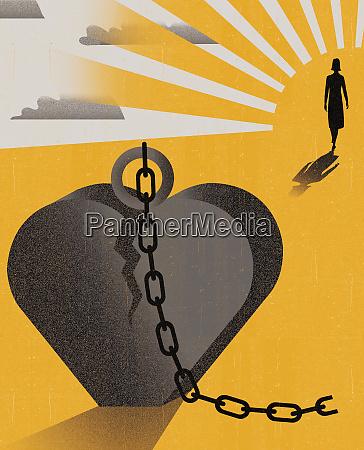 woman walking away from heart shape