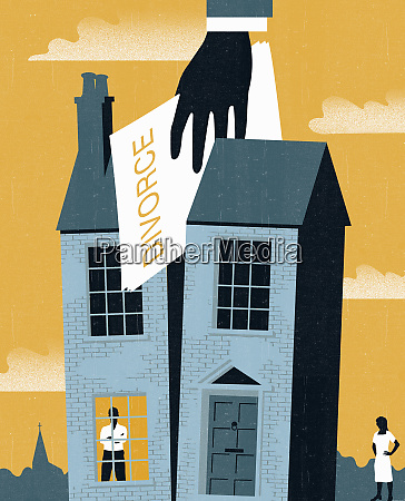 hand holding divorce paper dividing house