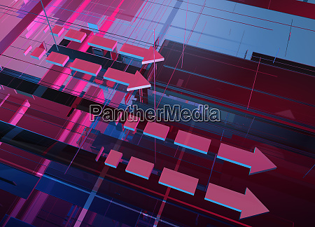 abstract pink and blue geometric grid