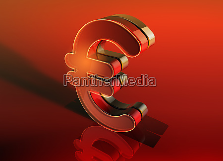 shiny red 3d euro sign on