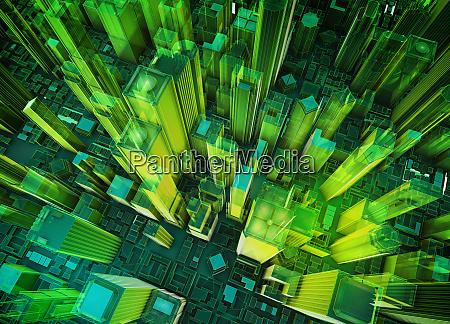 aerial view of virtual green high