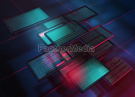 beleuchtete digitale tablets mit text in