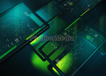 beleuchtete digitale tablets mit plaenen diagrammen