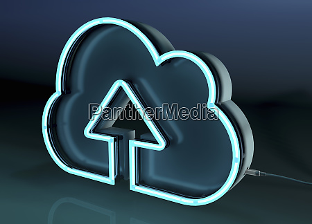 arrow pointing up in neon cloud