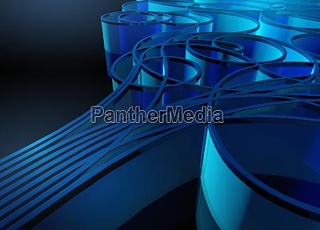 abstraktes blaues muster von curling band