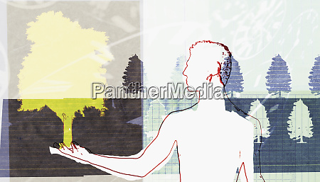 man holding tree in palm with