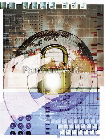 hand opening padlock on globe computer