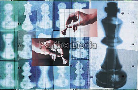chess pieces in rows and hands