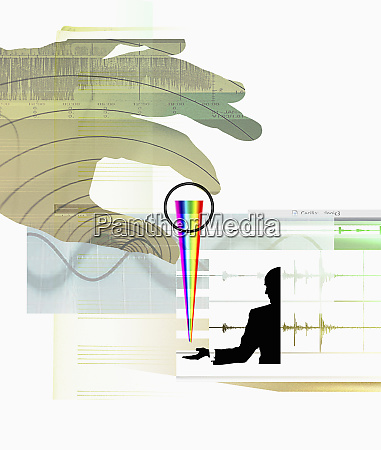 businessman receiving multicolored spectrum from large