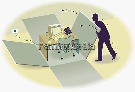 businessman OEffnungsbox eines vormontierten schreibtisches und