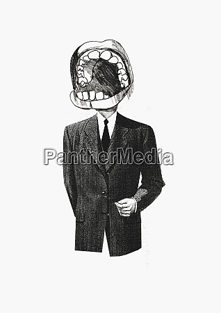 businessman with large mouth for head