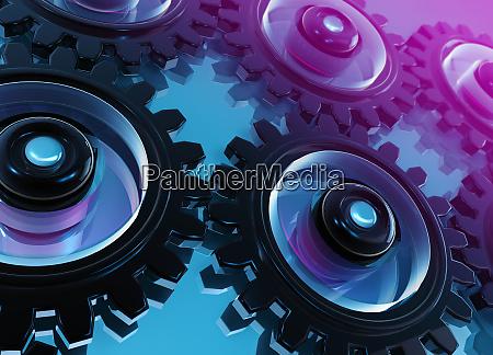 digital, erzeugte, vernetzte, zahnräder, und, zahnräder - 26001338