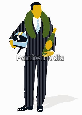 geschäftsmann, trägt, siegesweinfanterath, und, hält, helm - 26001651