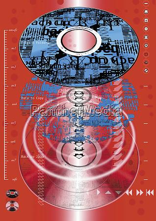 montage von cds und audio symbolen