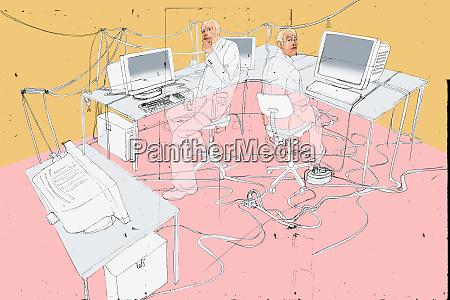 businessmen working on computer network