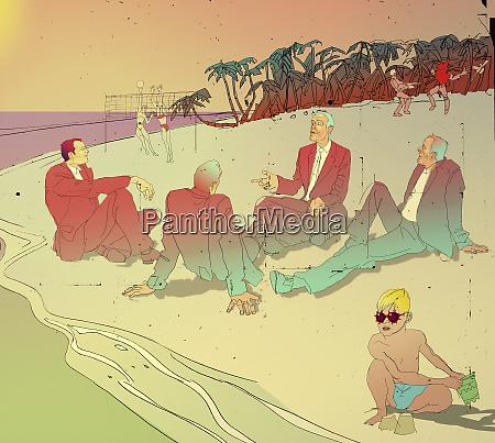 businessmen having meeting on beach