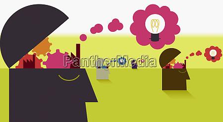 volkskoepfe oeffnen aufschlussreiche zahnraeder und gedankenblasen