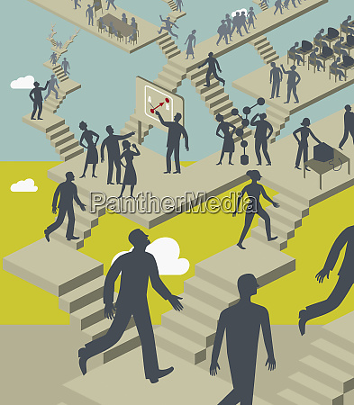 business people ascending and descending confusing