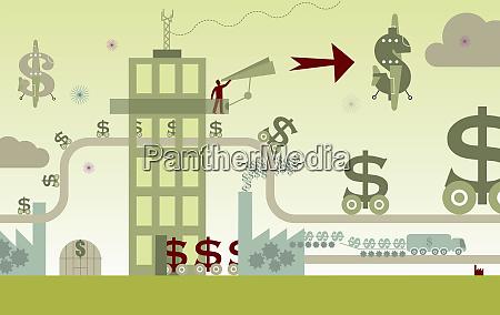 dollarzeichen die sich entlang der produktionslinie