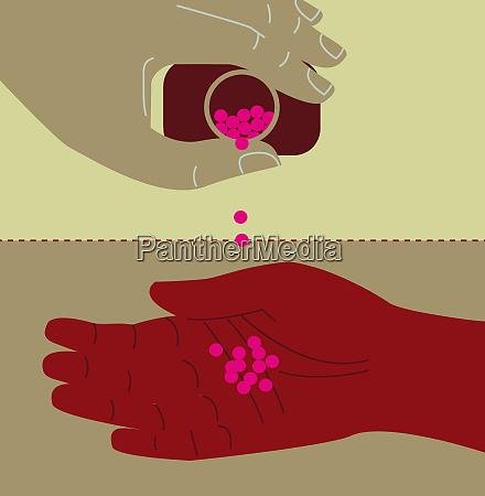 person giesst pillen in die hand