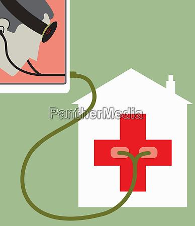 doctor using stethoscope on hospital