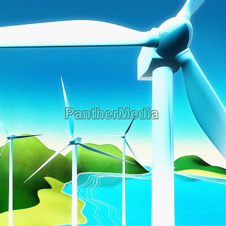 wind turbines near lake in countryside