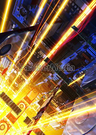light trails with computer hard drives